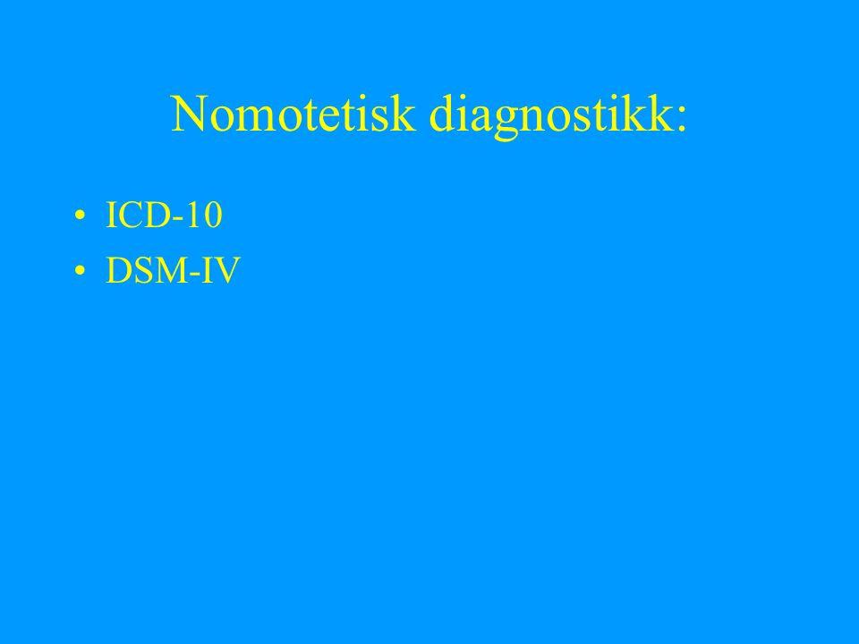 Nomotetisk diagnostikk: ICD-10 DSM-IV