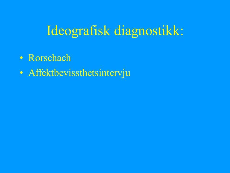 Ideografisk diagnostikk: Rorschach Affektbevissthetsintervju