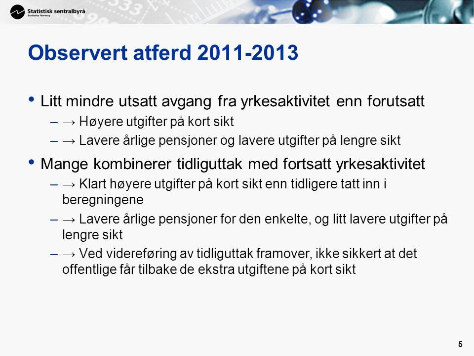 Observert atferd 2011-2013 Litt mindre utsatt avgang fra yrkesaktivitet enn forutsatt –→ Høyere utgifter på kort sikt –→ Lavere årlige pensjoner og la