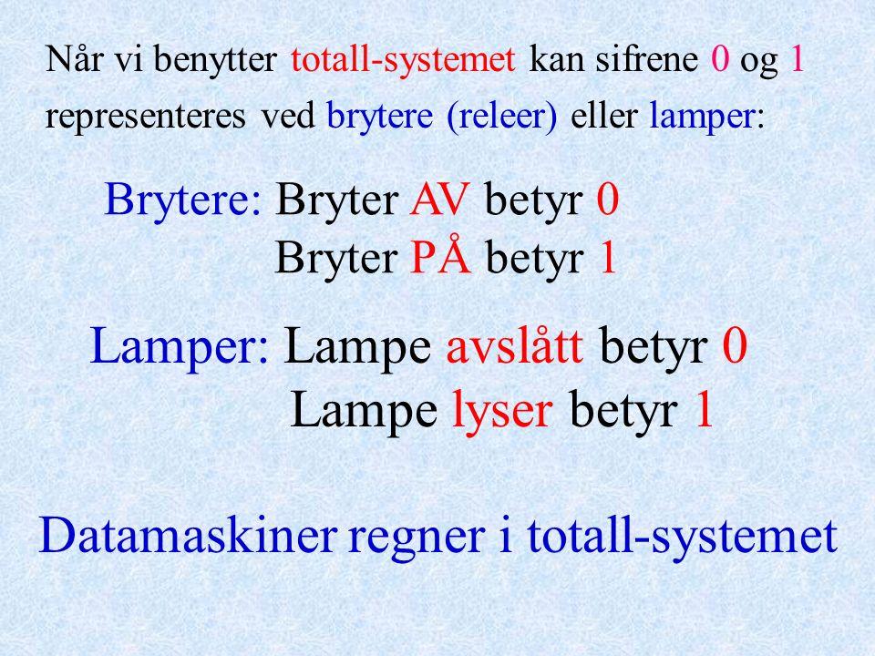 Når vi benytter totall-systemet kan sifrene 0 og 1 representeres ved brytere (releer) eller lamper: Brytere: Bryter AV betyr 0 Bryter PÅ betyr 1 Lampe