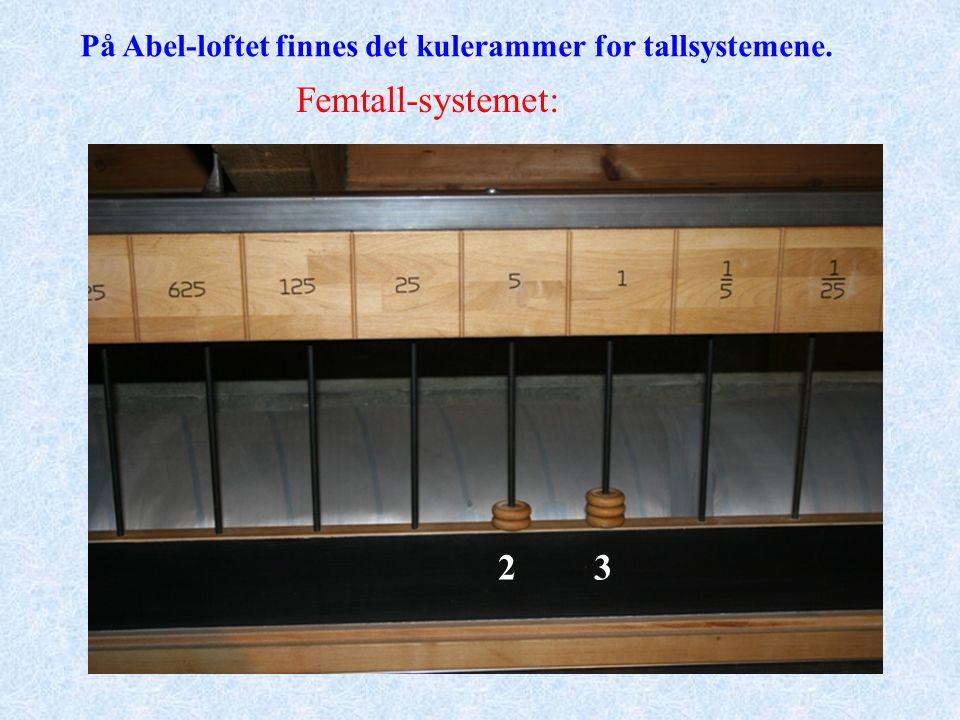 På Abel-loftet finnes det kulerammer for tallsystemene. Femtall-systemet: 23