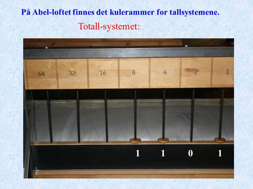 Totall-systemet: På Abel-loftet finnes det kulerammer for tallsystemene. 1110