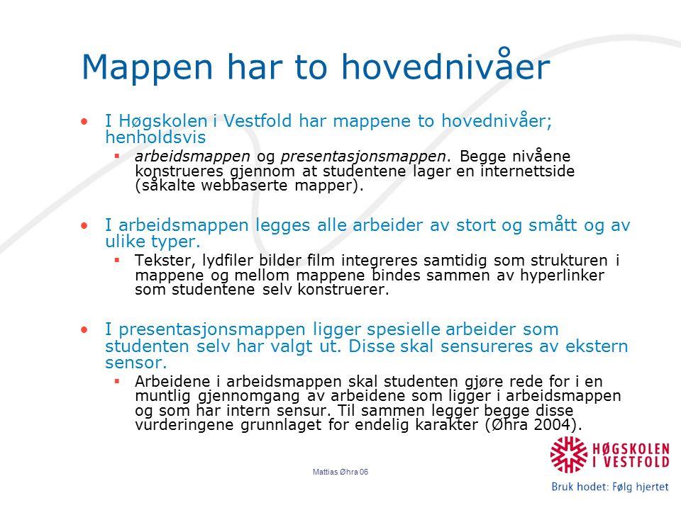 Mattias Øhra 06 Mappen har to hovednivåer I Høgskolen i Vestfold har mappene to hovednivåer; henholdsvis  arbeidsmappen og presentasjonsmappen. Begge