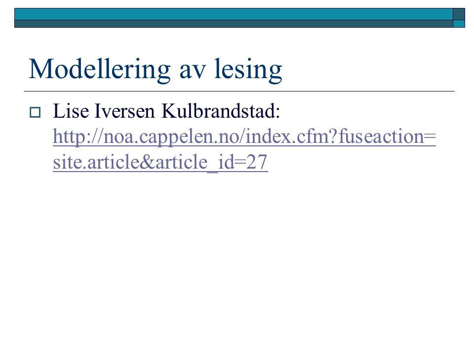 Modellering av lesing  Lise Iversen Kulbrandstad: http://noa.cappelen.no/index.cfm fuseaction= site.article&article_id=27 http://noa.cappelen.no/index.cfm fuseaction= site.article&article_id=27