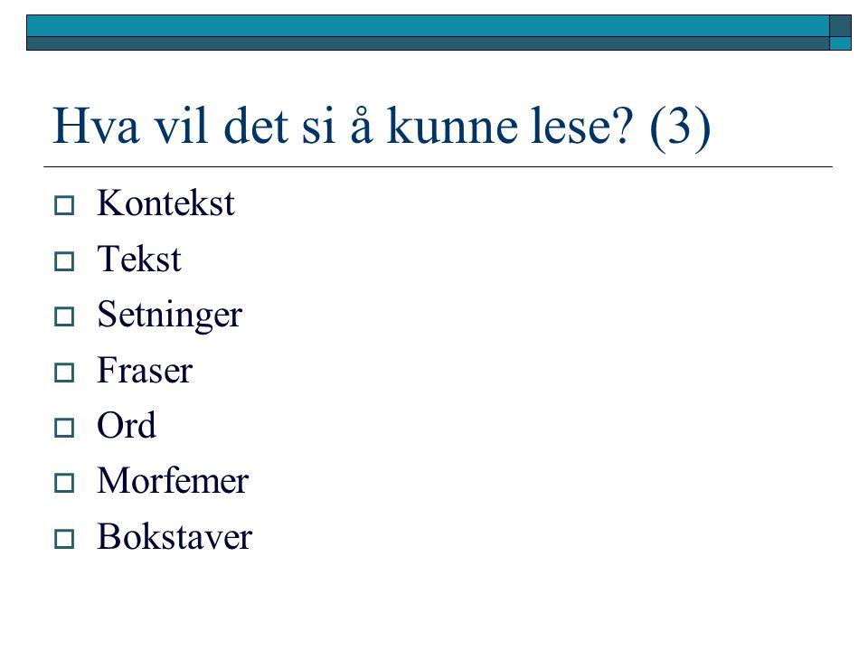 Modellering av lesing  Lise Iversen Kulbrandstad: http://noa.cappelen.no/index.cfm?fuseaction= site.article&article_id=27 http://noa.cappelen.no/index.cfm?fuseaction= site.article&article_id=27