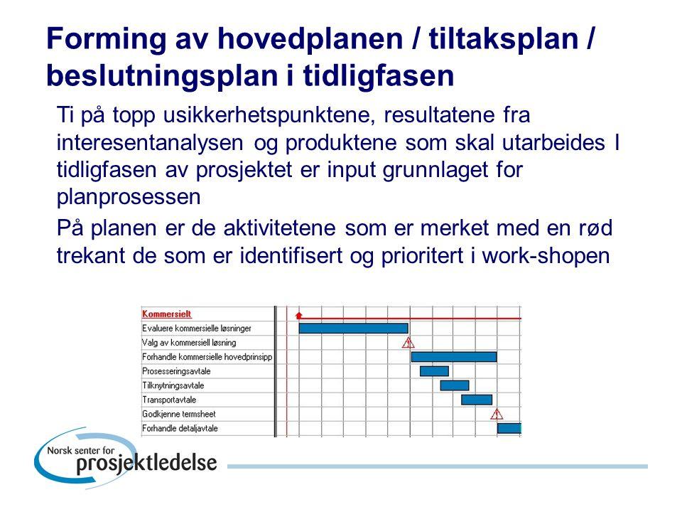 Forming av hovedplanen / tiltaksplan / beslutningsplan i tidligfasen Ti på topp usikkerhetspunktene, resultatene fra interesentanalysen og produktene som skal utarbeides I tidligfasen av prosjektet er input grunnlaget for planprosessen På planen er de aktivitetene som er merket med en rød trekant de som er identifisert og prioritert i work-shopen