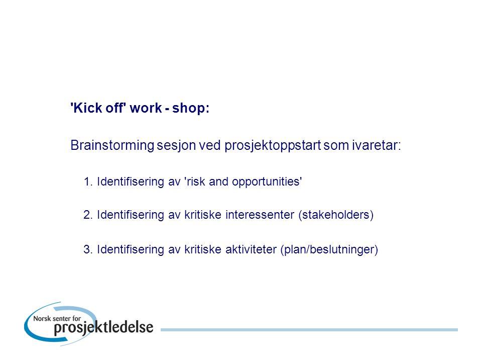Kick off work - shop: Brainstorming sesjon ved prosjektoppstart som ivaretar: 1.