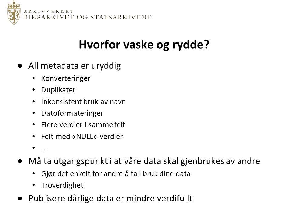 Konvertering til RDF RDF-skjelett Finn ønskede predikater (egenskaper).