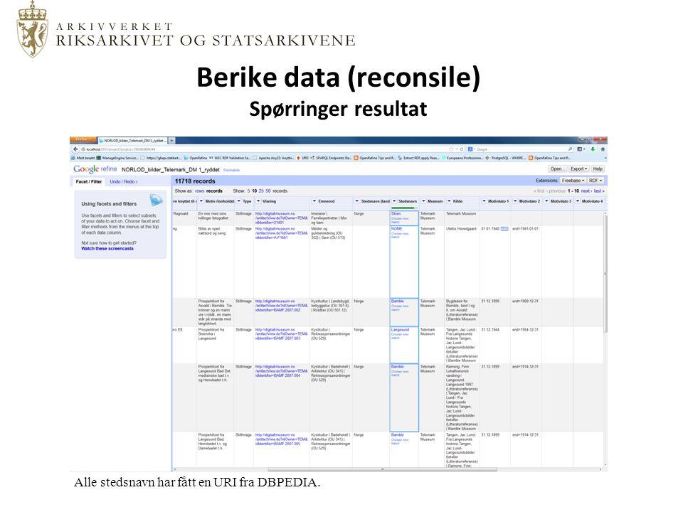 Berike data (reconsile) Spørringer resultat Alle stedsnavn har fått en URI fra DBPEDIA.