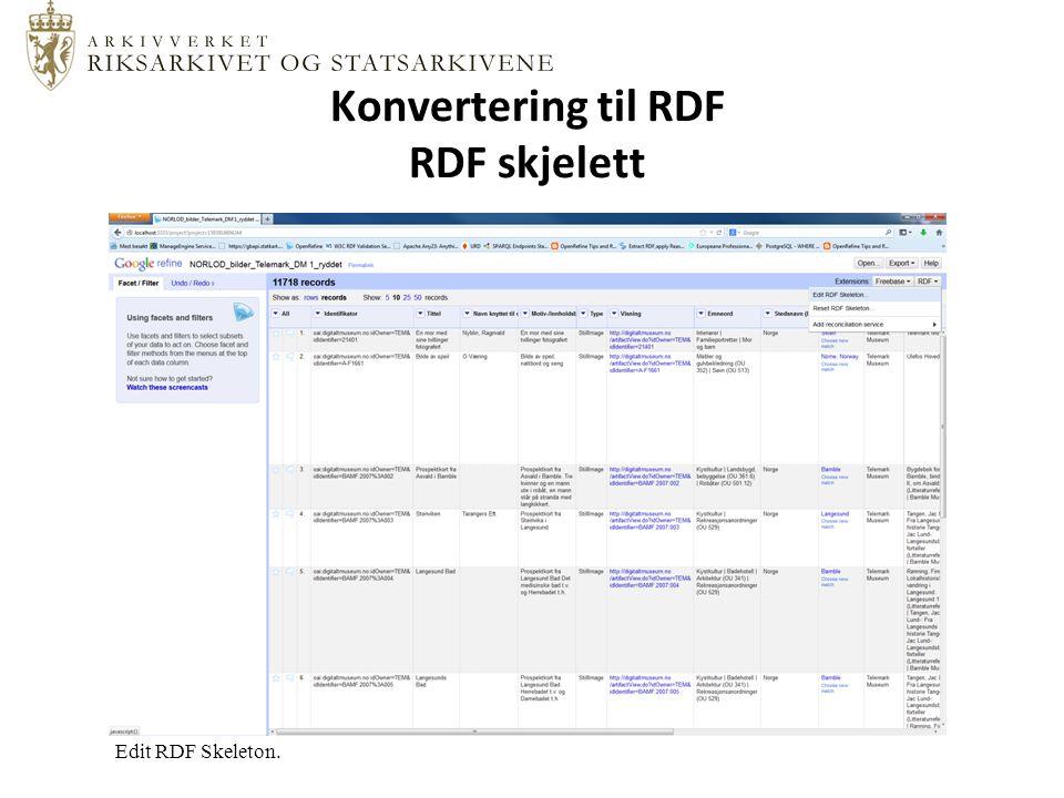Konvertering til RDF RDF skjelett Edit RDF Skeleton.