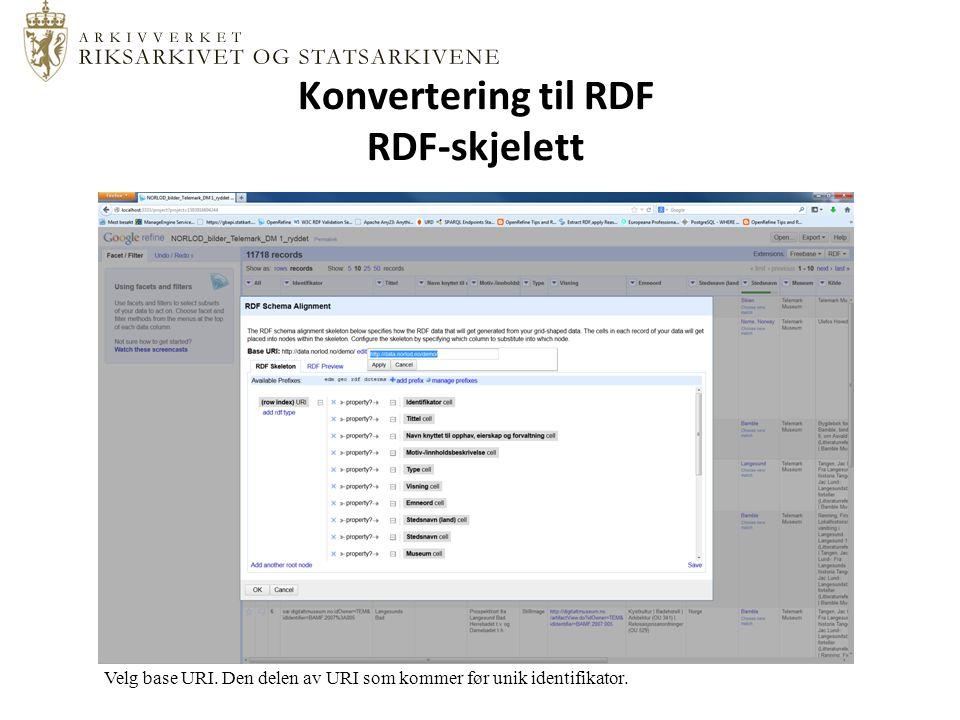 Konvertering til RDF RDF-skjelett Velg base URI.