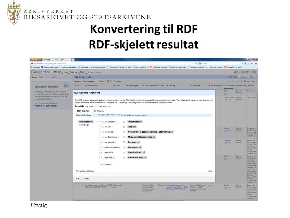 Konvertering til RDF RDF-skjelett resultat Utvalg