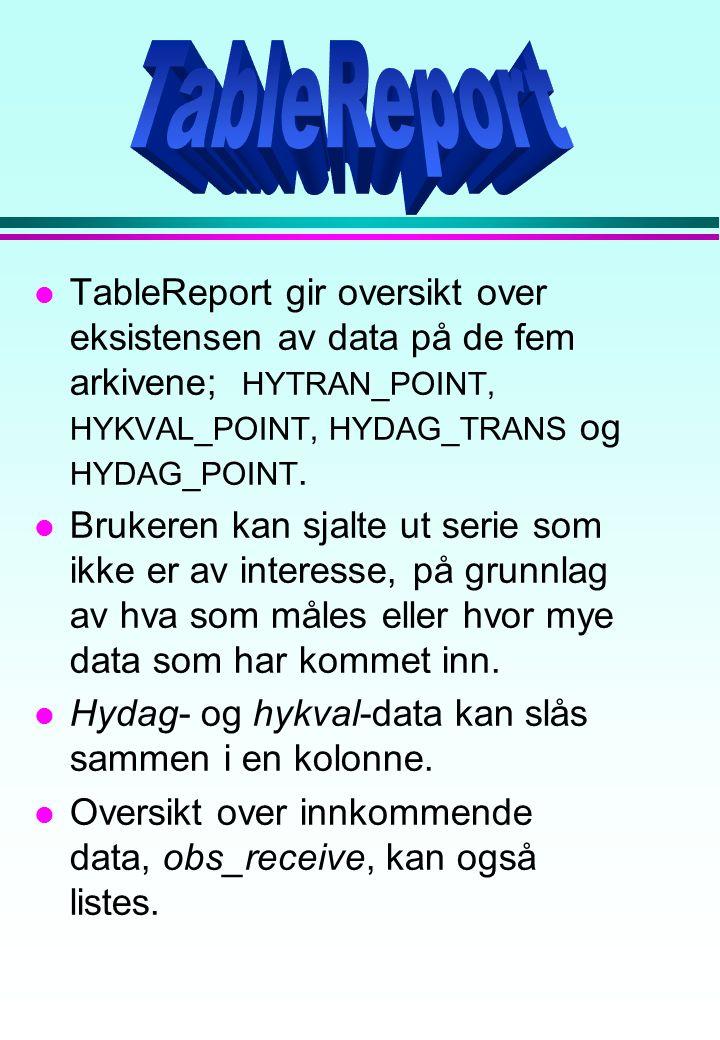 l TableReport gir oversikt over eksistensen av data på de fem arkivene; HYTRAN_POINT, HYKVAL_POINT, HYDAG_TRANS og HYDAG_POINT. l Brukeren kan sjalte