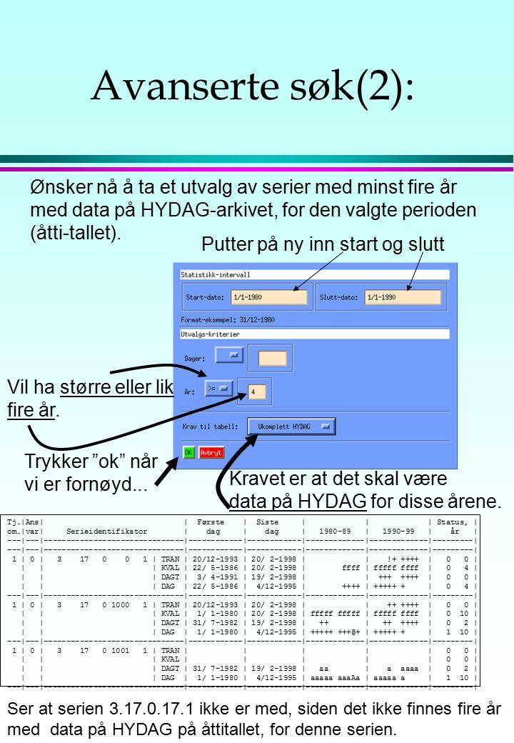 Avanserte søk(2): Ønsker nå å ta et utvalg av serier med minst fire år med data på HYDAG-arkivet, for den valgte perioden (åtti-tallet). Putter på ny