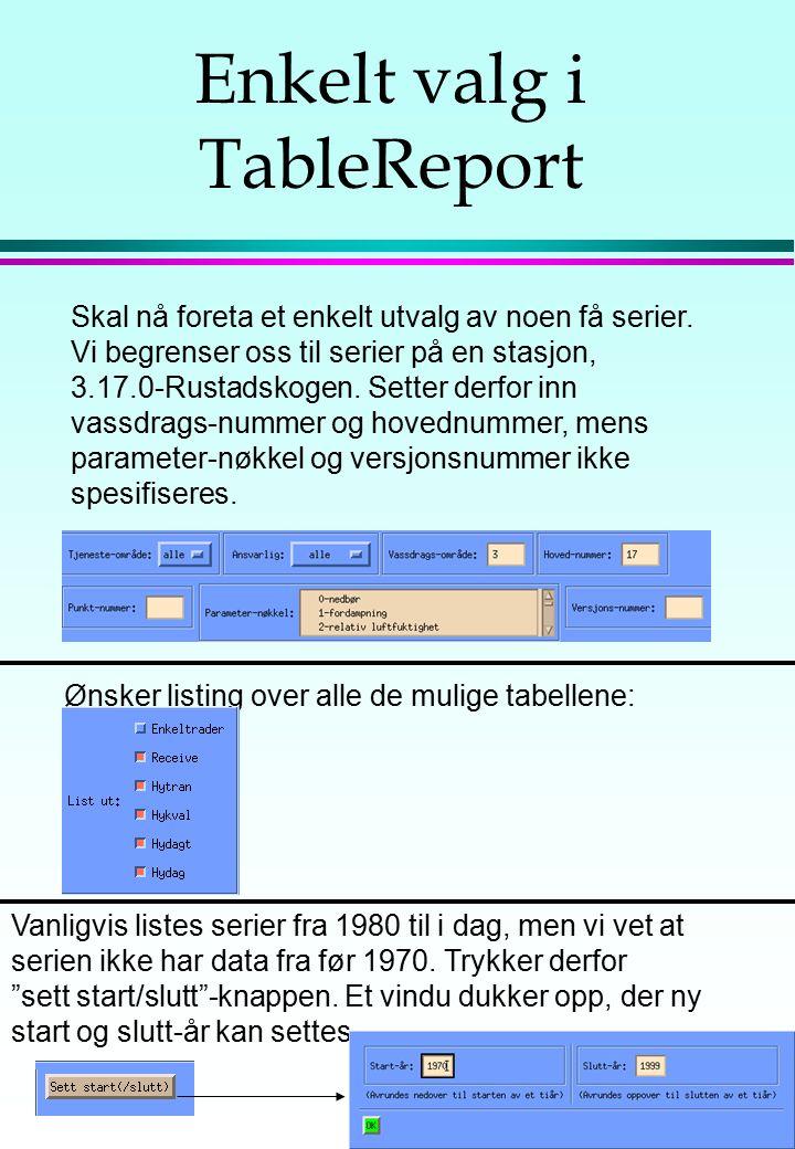 Enkelt valg i TableReport Skal nå foreta et enkelt utvalg av noen få serier. Vi begrenser oss til serier på en stasjon, 3.17.0-Rustadskogen. Setter de