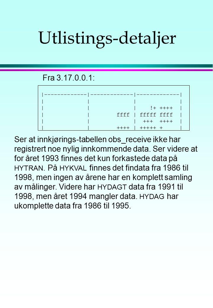 Utlistings-detaljer |-------------|-------------|-------------| | | | | | !+ ++++ | | | ffff | fffff ffff | | | | +++ ++++ | | | ++++ | +++++ + | Fra 3.17.0.0.1: Ser at innkjørings-tabellen obs_receive ikke har registrert noe nylig innkommende data.