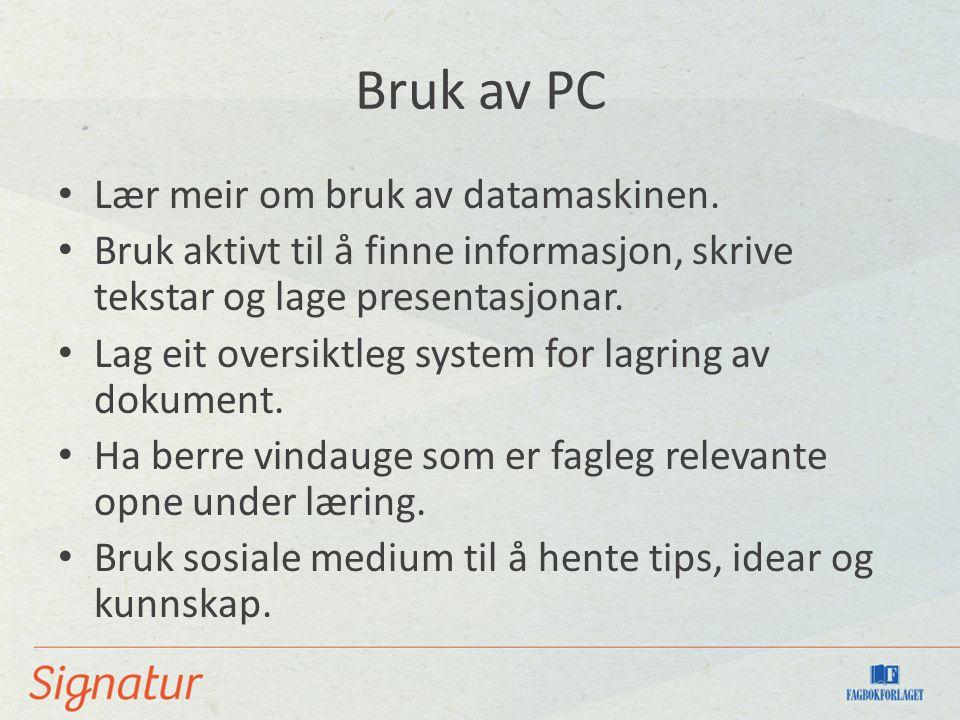 Bruk av PC Lær meir om bruk av datamaskinen. Bruk aktivt til å finne informasjon, skrive tekstar og lage presentasjonar. Lag eit oversiktleg system fo