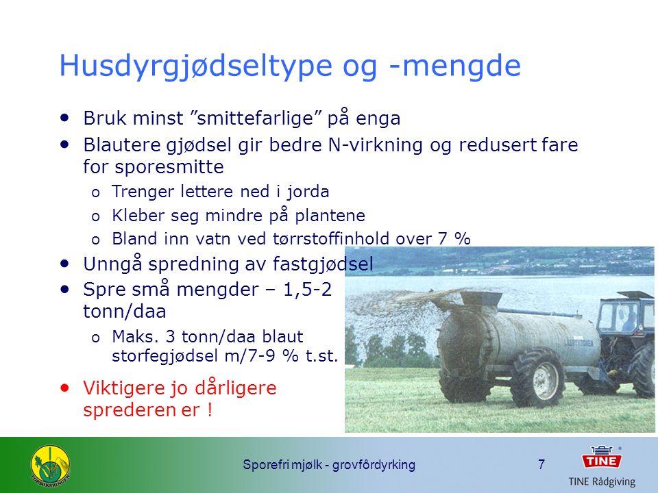 Sporefri mjølk - grovfôrdyrking8 Spredetidspunkt Sporeproblem  unngå belegg  små planter Best utnytting ved låg temperatur og høg luftfuktighet  vårspredning (?) Men jorda rel.