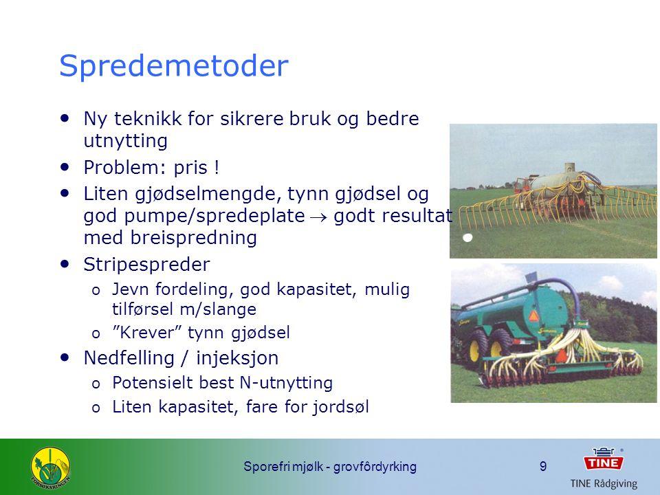 Sporefri mjølk - grovfôrdyrking10 Surfôrkvalitet og spredemetoder Surfôrkvalitet ved ulike spredemetoder og høstetidspunkt i forhold til spredning (IGER 2002)