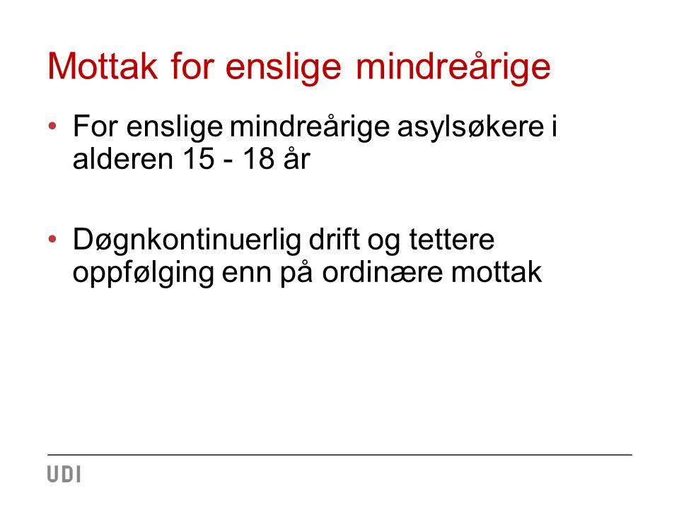 Mottak for enslige mindreårige For enslige mindreårige asylsøkere i alderen 15 - 18 år Døgnkontinuerlig drift og tettere oppfølging enn på ordinære mottak