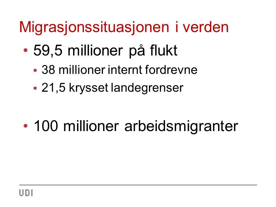 Migrasjonssituasjonen i verden 59,5 millioner på flukt  38 millioner internt fordrevne  21,5 krysset landegrenser 100 millioner arbeidsmigranter