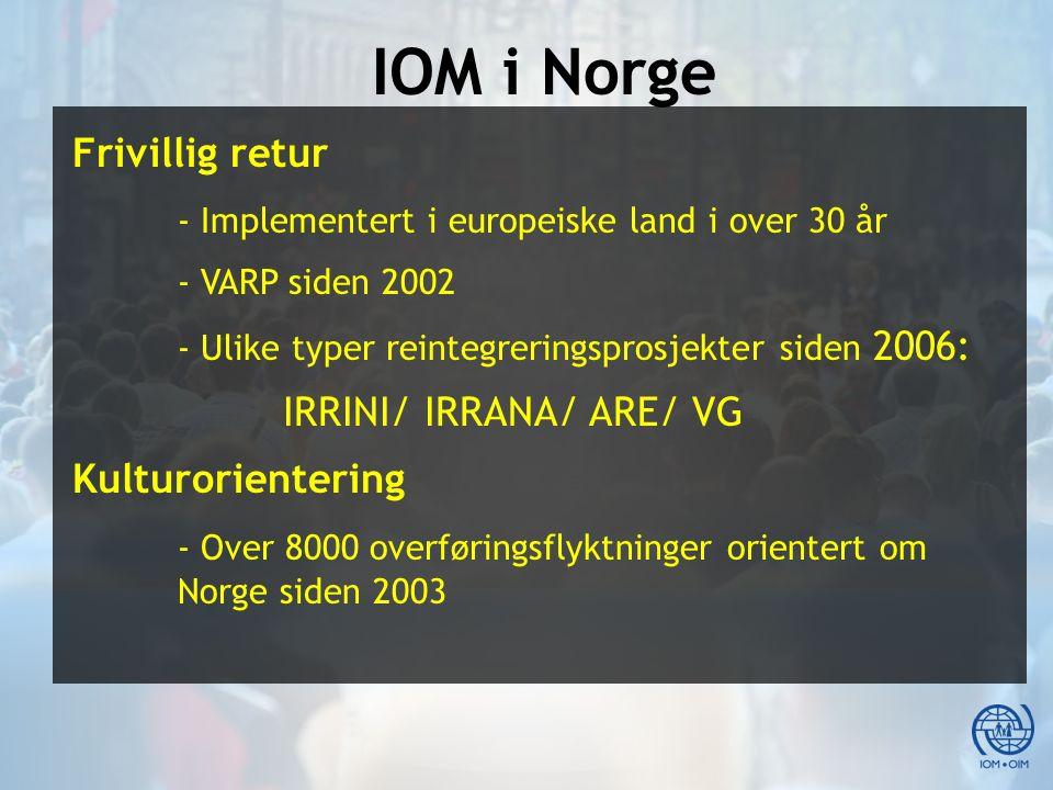IOM i Norge Frivillig retur - Implementert i europeiske land i over 30 år - VARP siden 2002 - Ulike typer reintegreringsprosjekter siden 2006: IRRINI/ IRRANA/ ARE/ VG Kulturorientering - Over 8000 overføringsflyktninger orientert om Norge siden 2003