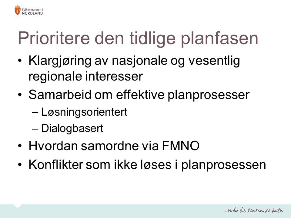 Prioritere den tidlige planfasen Klargjøring av nasjonale og vesentlig regionale interesser Samarbeid om effektive planprosesser –Løsningsorientert –Dialogbasert Hvordan samordne via FMNO Konflikter som ikke løses i planprosessen