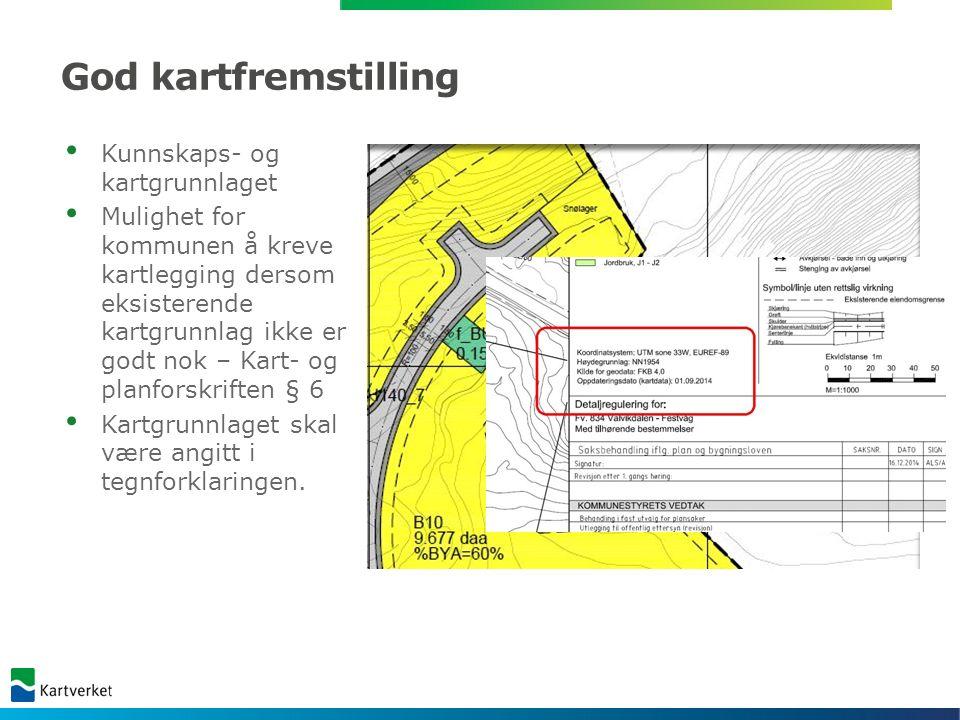 God kartfremstilling «Valg» av bakgrunnskart NPAD 1.2.1 Krav til basiskartet Det kan også være nødvendig å utelate mindre vesentlig informasjon fra kartgrunnlaget for å gi plankartet bedre lesbarhet.