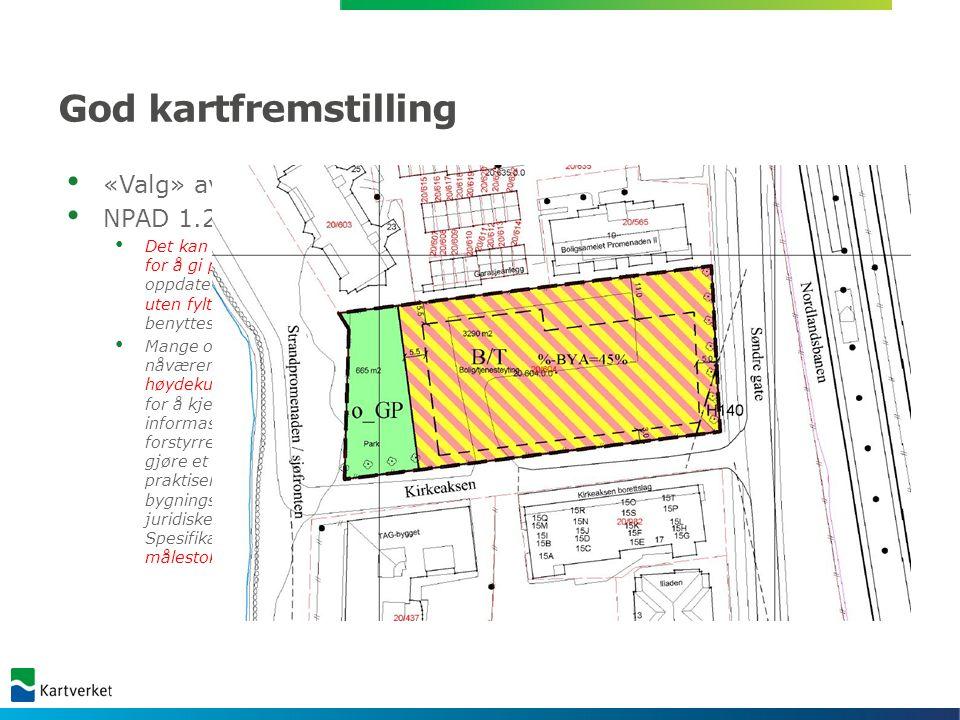 God kartfremstilling Sammenfallende planavgrensing og formålsgrense NPAD 1.7.3 Planområdet skal være klart og entydig avgrenset og vises med en tydelig grenselinje på plankartet.