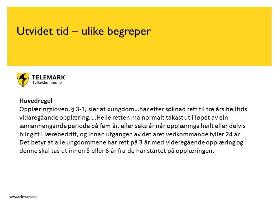 www.telemark.no Utvidet tid – ulike begreper Hovedregel Opplæringsloven, § 3-1, sier at «ungdom…har etter søknad rett til tre års heiltids vidaregåande opplæring.