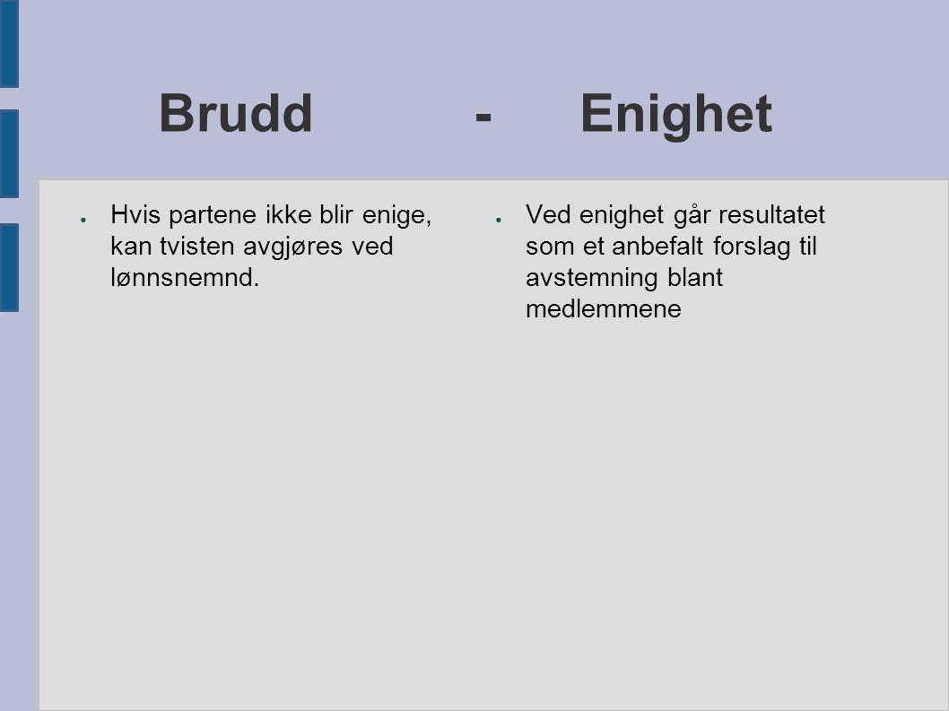 Brudd - Enighet ● Hvis partene ikke blir enige, kan tvisten avgjøres ved lønnsnemnd.
