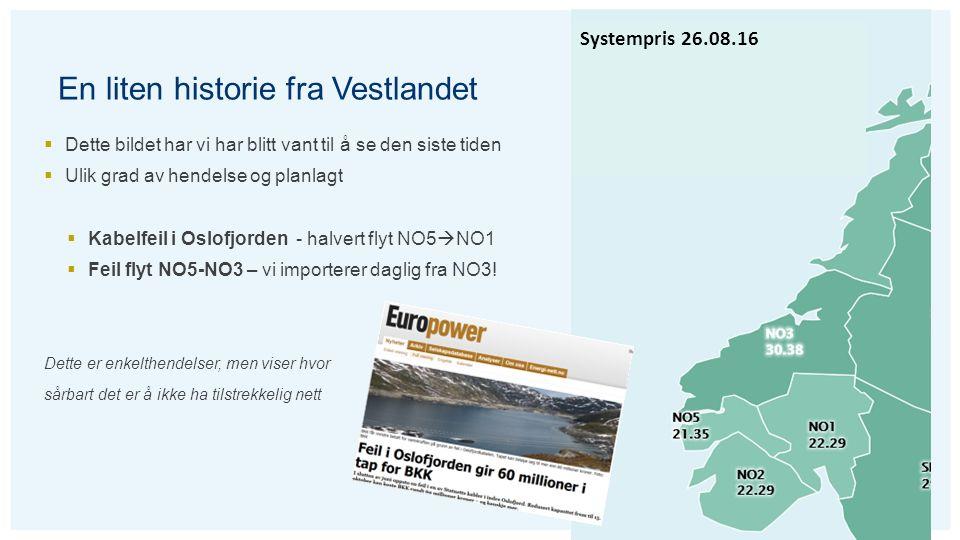 En liten historie fra Vestlandet  Dette bildet har vi har blitt vant til å se den siste tiden  Ulik grad av hendelse og planlagt  Kabelfeil i Oslofjorden - halvert flyt NO5  NO1  Feil flyt NO5-NO3 – vi importerer daglig fra NO3.