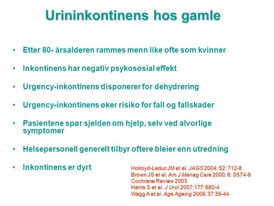 Urininkontinens hos gamle Etter 80- årsalderen rammes menn like ofte som kvinner Inkontinens har negativ psykososial effekt Urgency-inkontinens dispon