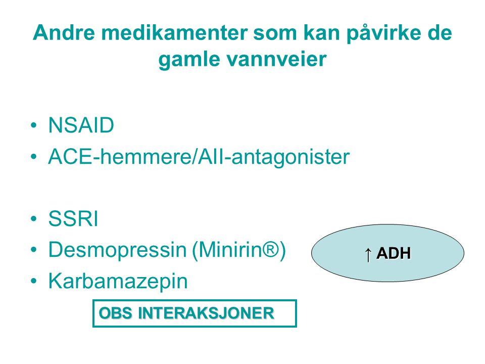 Andre medikamenter som kan påvirke de gamle vannveier NSAID ACE-hemmere/AII-antagonister SSRI Desmopressin (Minirin®) Karbamazepin OBS INTERAKSJONER ↑