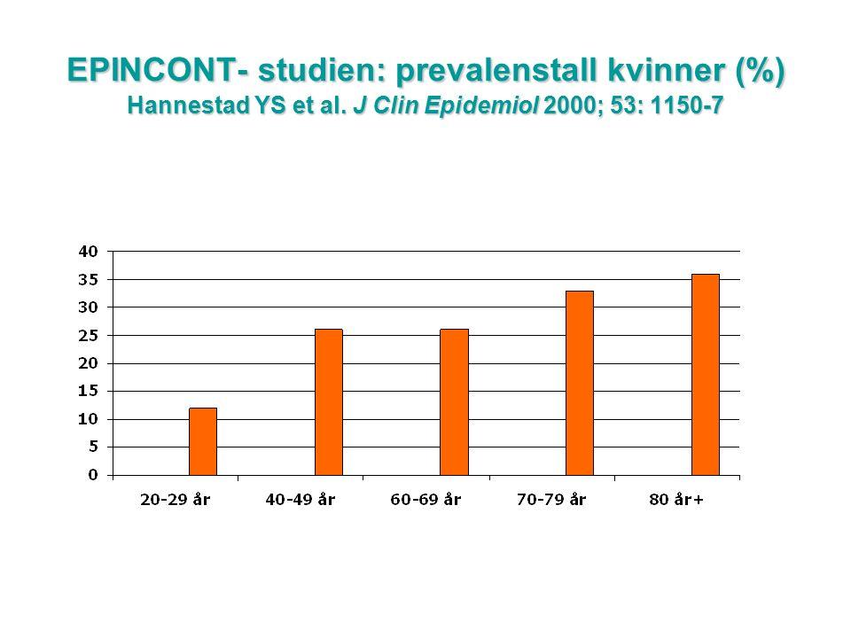 EPINCONT – prevalens (%) etter inkontinenstype og aldersgrupper (♀) % Alder