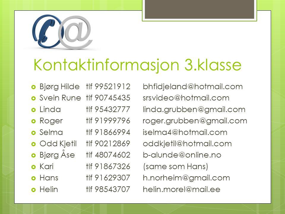 Kontaktinformasjon 3.klasse  Bjørg Hildetlf 99521912bhfidjeland@hotmail.com  Svein Runetlf 90745435srsvideo@hotmail.com  Lindatlf 95432777linda.grubben@gmail.com  Rogertlf 91999796roger.grubben@gmail.com  Selmatlf 91866994iselma4@hotmail.com  Odd Kjetiltlf 90212869oddkjetil@hotmail.com  Bjørg Åsetlf 48074602b-alunde@online.no  Karitlf 91867326(same som Hans)  Hanstlf 91629307h.norheim@gmail.com  Helintlf 98543707helin.morel@mail.ee