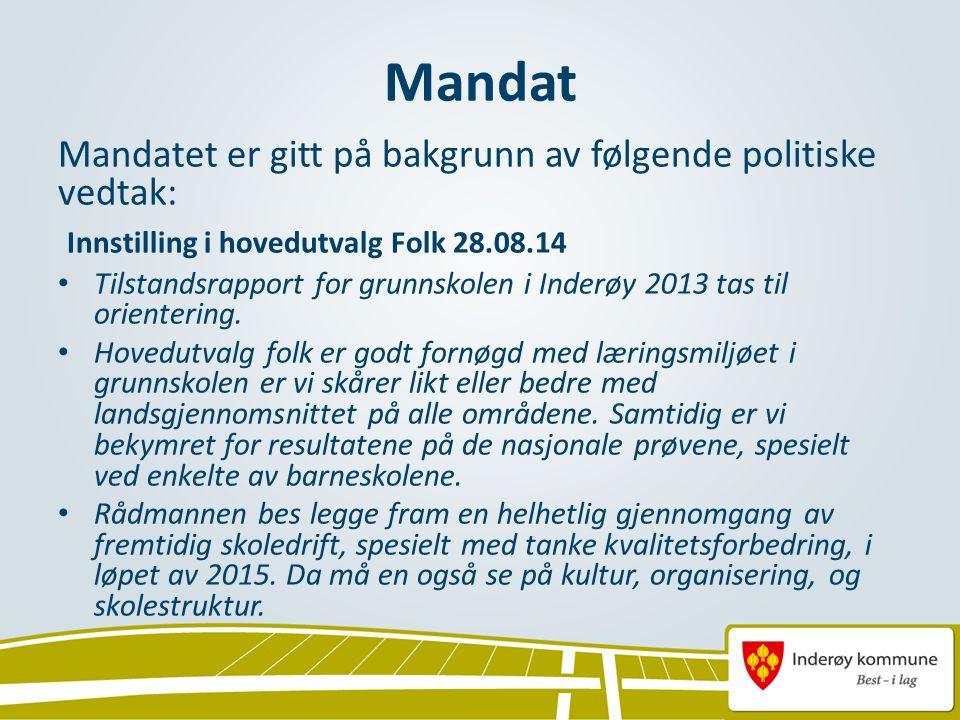 Mandat Mandatet er gitt på bakgrunn av følgende politiske vedtak: Innstilling i hovedutvalg Folk 28.08.14 Tilstandsrapport for grunnskolen i Inderøy 2013 tas til orientering.