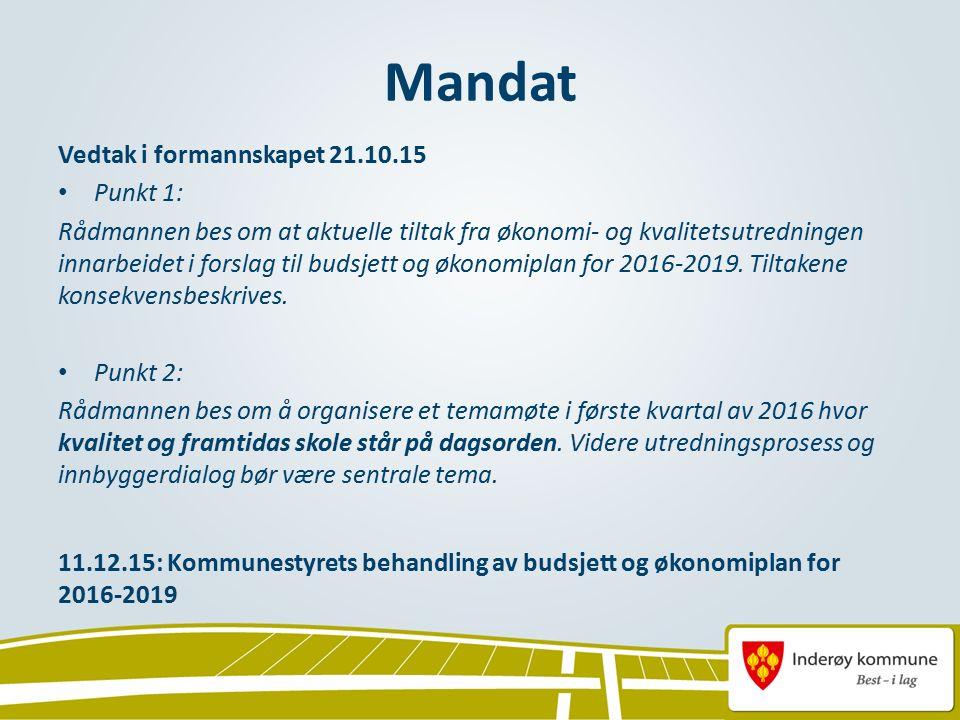 Mandat Vedtak i formannskapet 21.10.15 Punkt 1: Rådmannen bes om at aktuelle tiltak fra økonomi- og kvalitetsutredningen innarbeidet i forslag til budsjett og økonomiplan for 2016-2019.
