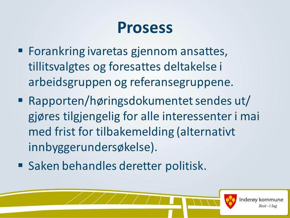 Prosess  Forankring ivaretas gjennom ansattes, tillitsvalgtes og foresattes deltakelse i arbeidsgruppen og referansegruppene.  Rapporten/høringsdoku