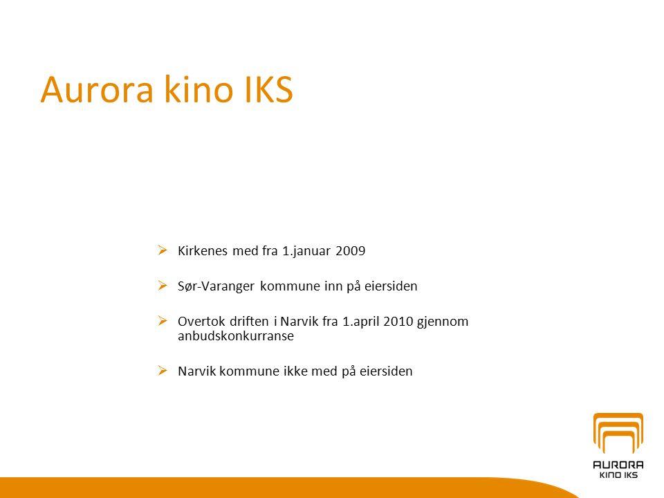 Aurora kino IKS  Kirkenes med fra 1.januar 2009  Sør-Varanger kommune inn på eiersiden  Overtok driften i Narvik fra 1.april 2010 gjennom anbudskonkurranse  Narvik kommune ikke med på eiersiden