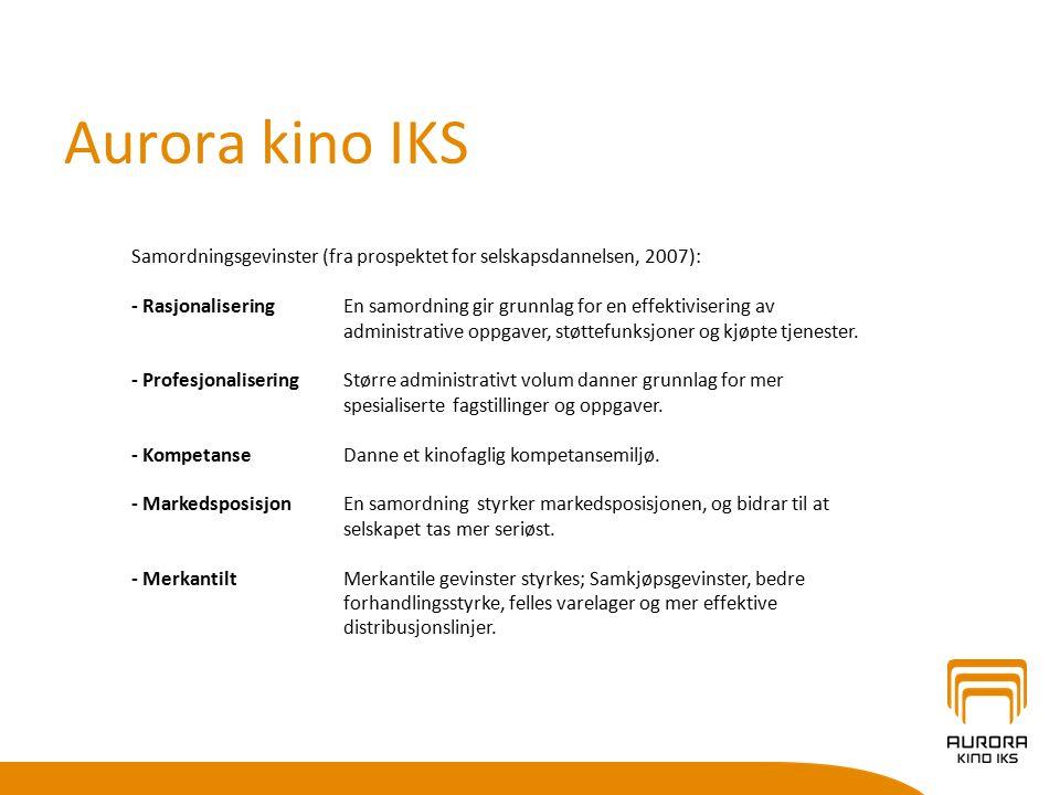 Aurora kino IKS Kinosjefen på en liten eller mellomstor kino må ofte være en tusenkunstner som behersker svært mange ulike fagfelt (filmfaglig, markedsføring, økonomi og budsjettering, regnskap, personalledelse, kommunal saksbehandling, etc.
