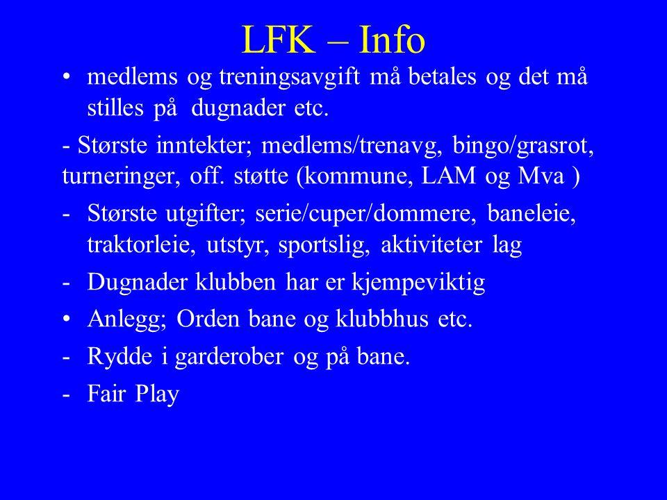 LFK – Info medlems og treningsavgift må betales og det må stilles på dugnader etc.
