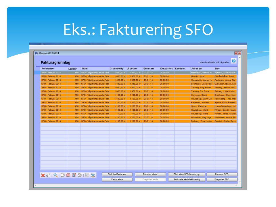 Eks.: Fakturering SFO