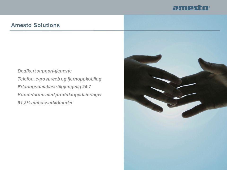 Dedikert support-tjeneste Telefon, e-post, web og fjernoppkobling Erfaringsdatabase tilgjengelig 24-7 Kundeforum med produktoppdateringer 91,3% ambassadørkunder Amesto Solutions