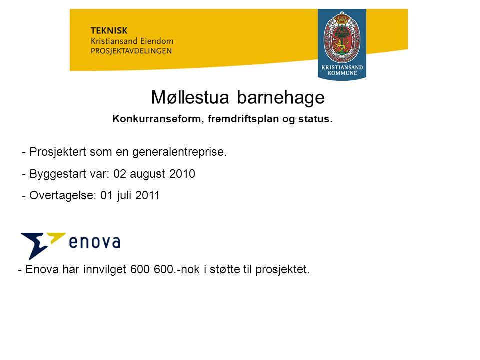 Møllestua barnehage Konkurranseform, fremdriftsplan og status.