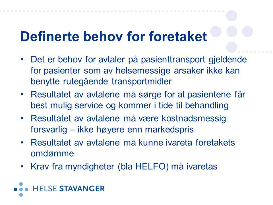 Det er behov for avtaler på pasienttransport gjeldende for pasienter som av helsemessige årsaker ikke kan benytte rutegående transportmidler Resultatet av avtalene må sørge for at pasientene får best mulig service og kommer i tide til behandling Resultatet av avtalene må være kostnadsmessig forsvarlig – ikke høyere enn markedspris Resultatet av avtalene må kunne ivareta foretakets omdømme Krav fra myndigheter (bla HELFO) må ivaretas Definerte behov for foretaket