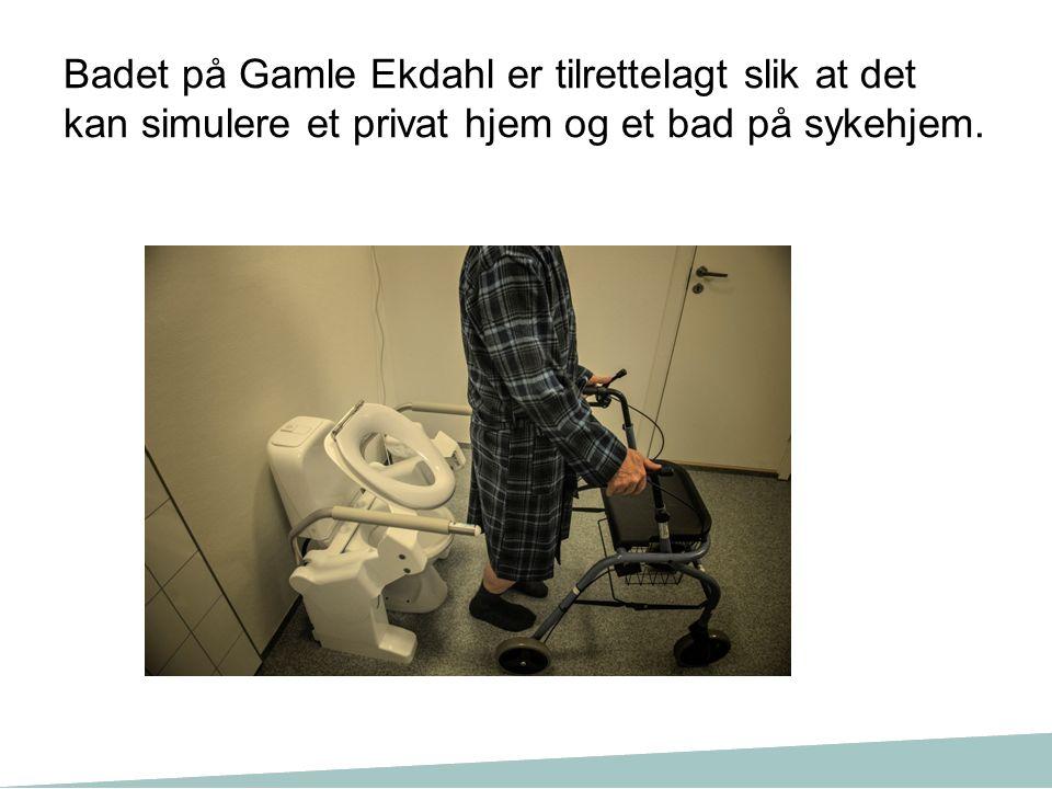 Badet på Gamle Ekdahl er tilrettelagt slik at det kan simulere et privat hjem og et bad på sykehjem.