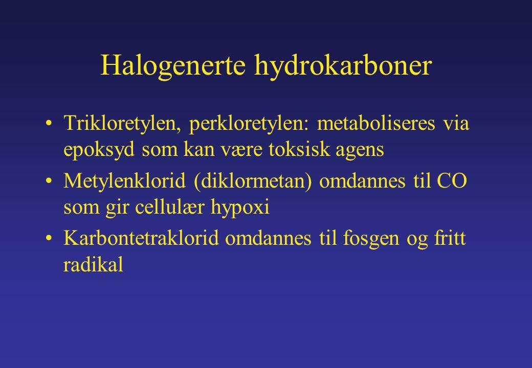 Halogenerte hydrokarboner Trikloretylen, perkloretylen: metaboliseres via epoksyd som kan være toksisk agens Metylenklorid (diklormetan) omdannes til CO som gir cellulær hypoxi Karbontetraklorid omdannes til fosgen og fritt radikal
