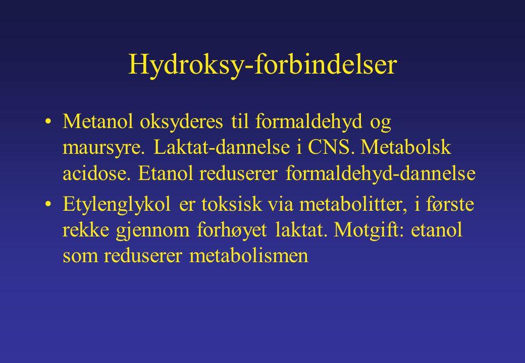 Hydroksy-forbindelser Metanol oksyderes til formaldehyd og maursyre.