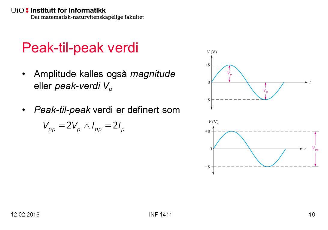 Peak-til-peak verdi Amplitude kalles også magnitude eller peak-verdi V p Peak-til-peak verdi er definert som 12.02.2016INF 141110